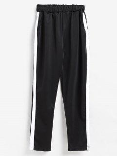 Pull On Side Stripe Jogging Pants - Black M