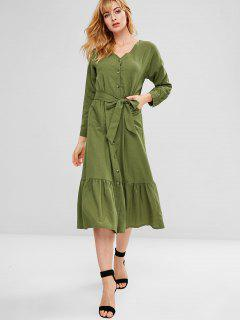 Belted Patch Pocket Button Through Midi Dress - Army Green M