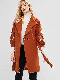 Floral Embroidered Wool Blend Coat - Chocolate M