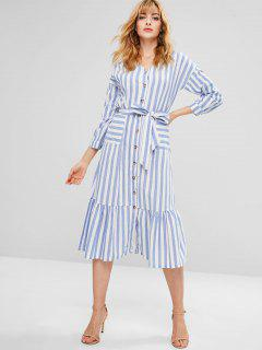 Belted Striped Button Through Midi Dress - Light Blue L