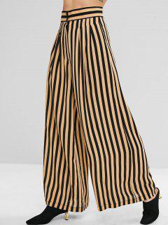 Pantalones Anchos A Rayas Con Detalle De Pliegues - Vainilla S