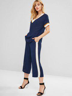 Contrats Stripe Top Wide Leg Pants Co Ord Set - Midnight Blue L