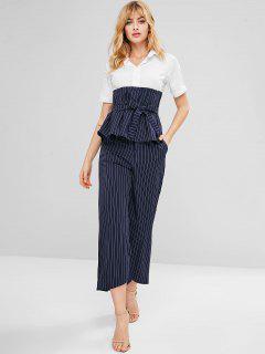 Pinstripe Peplum Top Wide Leg Pants Co Ord Set - Midnight Blue M