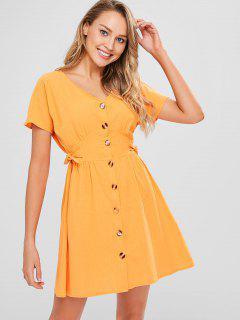 Vestido De Botones Con Nudo Y Detalle De Pliegues - Amarilla De Abeja  L