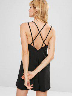 Backless Criss Cross Mini Cami Dress - Black