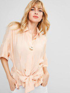Knotted High Low Shirt - Blanched Almond M