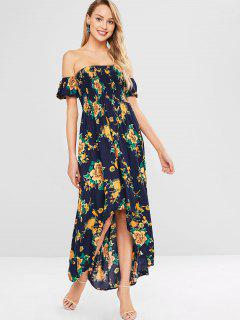 Smocked Floral High Low Dress - Midnight Blue L