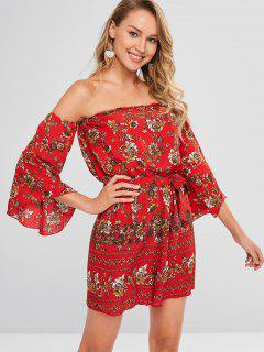 Flower Off Shoulder Loose Romper - Red L