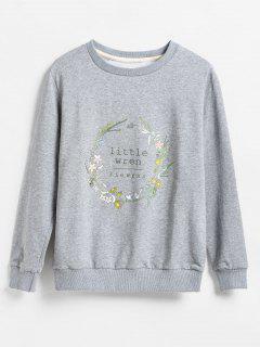 Floral Garland Print Pullover Sweatshirt - Gray M