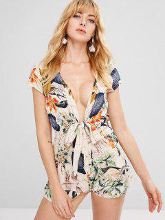Tropical Print Tie Front Plunging Neck Romper - Multi-a M