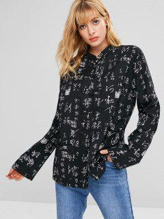 Pockets Printed Loose Blouse - Black