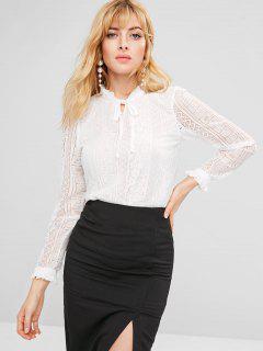 Blusa De Encaje Con Cuello Anudado - Blanco M