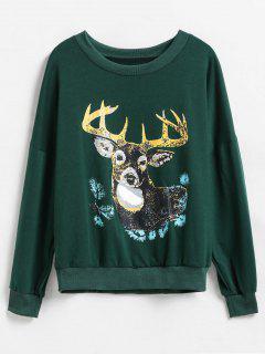 Deer Graphic Front Drop Shoulder Christmas Sweatshirt - Deep Green L