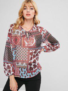Blusa De Túnica Con Estampado Alto Y Bajo - Multicolor-a M