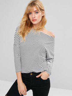 Striped Skew Collar Tunic Tee - Black M
