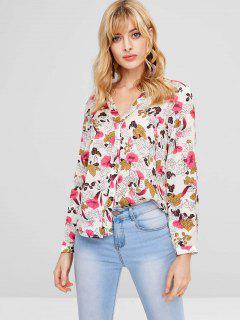 Blusa Con Cuello En V Floral Satinado - Multicolor L