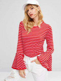 Long Flare Sleeves Striped Tee - Red Xl