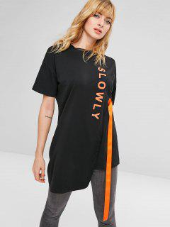 Letter Graphic Longline Tee - Black Xl