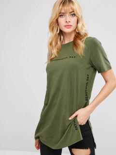 Camiseta Larga Con Estampado De Texto - Ejercito Verde Xl