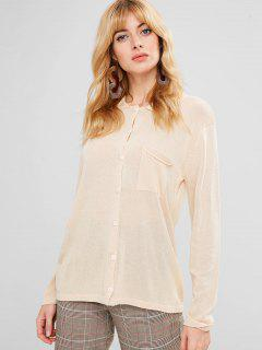 Pocket Button Up Shirt Cardigan - Champagne
