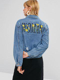 Floral Letter Embroidered Ripped Denim Jacket - Jeans Blue Xl