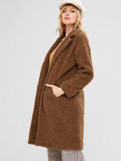 Knee Length Loose Fluffy Coat - Brown L