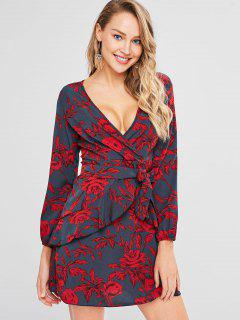 Low Cut Floral Print Belted Dress - Red L