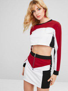 ZAFUL Contrast Crop Top And Skirt Set - White S
