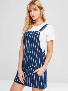 Striped Denim Dungarees Pinafore Dress - Deep Blue M