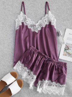 Contrast Lace Satin Cami Pajama Set - Dark Orchid M