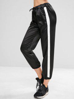 Drawstring Snap Button Jogger Pants - Black M