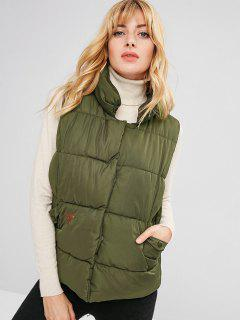 Embroidered Snap Button Padded Waistcoat - Camouflage Green L