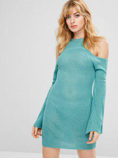 Bell Sleeve Cold Shoulder Short Knit Dress - Light Sea Green L