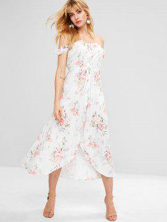 Drawstring Floral Button Up Flowy Dress - White L