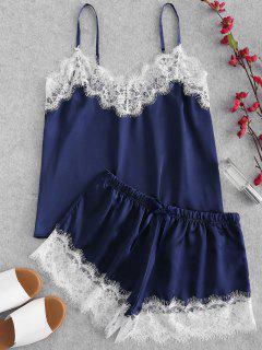 Eyelash Lace Lustrous Satin Cami Pajama Set - Navy Blue 2xl
