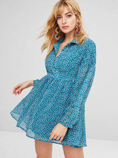 Floral Flowy Chiffon Mini Dress - Peacock Blue M