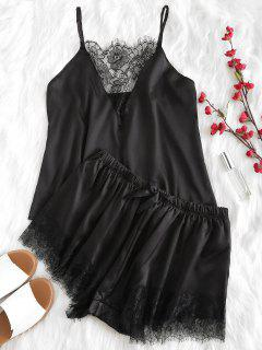 Lace Plunge Cami Top And Shorts Pajama Set - Black L