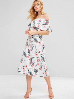 Floral Off Shoulder Swing Beach Dress - Multi L
