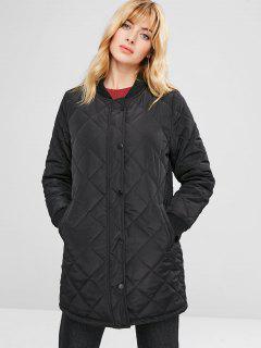 Zipper Longline Quilted Coat - Black L