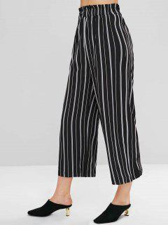 Wide Leg Palazzo Striped Pants - Black S