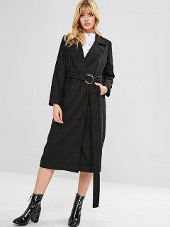 Lapel Collar Midi Belted Coat - Black L