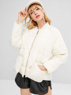 Raglan Sleeve Pocket Quilted Coat - White S