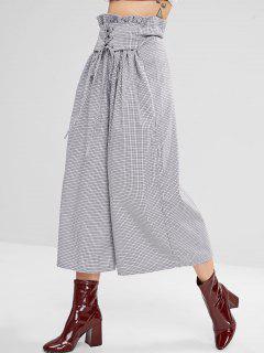 Plaid Lace-up Culotte Wide Leg Pants - Gray M