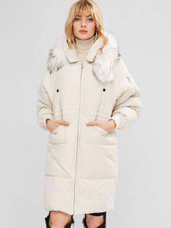 Manteau à Capuche Matelassé à Manches Longues Raglan - Blanc L