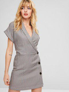 Cuffed Plaid Wrap Dress - Multi M