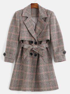 Belted Plaid Lapel Coat - Multi L