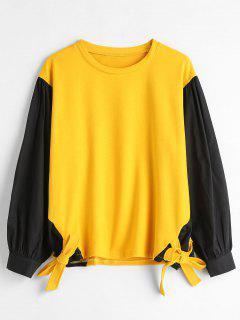 Tie Panels Plus Size Sweatshirt - Sun Yellow L