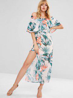 Off Shoulder Slit Maxi Sheer Dress - Multi S