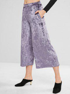 Crushed Velvet Gaucho Pants - Crocus Purple L