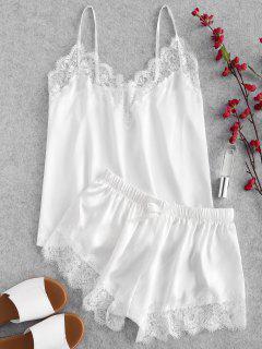 Eyelash Lace Lustrous Satin Cami Pajama Set - White L